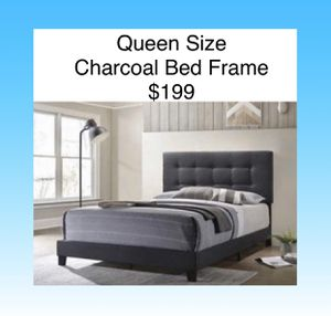 Queen Size Bed Frames Charcoal Fabric (New) Same Day Delivery Available for Sale in Atlanta, GA