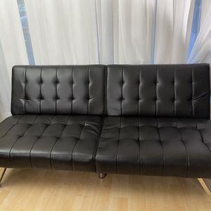 Black Leather Futon Convertible Sofa for Sale in Santa Clara, CA