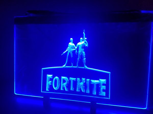 """New custom 8 x 11"""" blue Fornite light up sign w 4ft cord and chain to hang"""