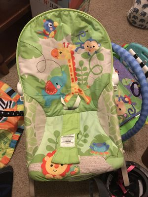Baby play mats, boppys , fisher price rocker chair , Eddie Bauer diaper bag for Sale in San Antonio, TX