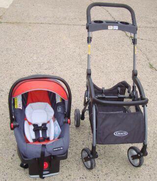 Graco infant car seat ( new ) plus stroller frame