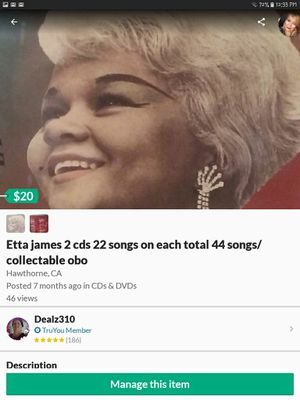 Etta james 2 cds 22 songs on each total 44 songs/collectable obo for Sale in Hawthorne, CA