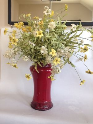 Red vase with artificial flowers for Sale in Austin, TX