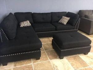 Black sofa sectional with ottoman 104x75 new in box for Sale in North Miami Beach, FL