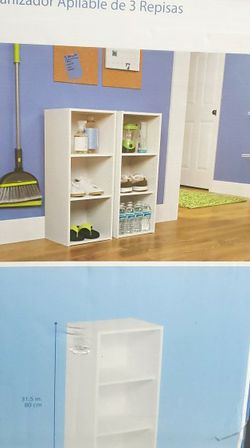 Close-minded Stackable 3 Shelf Organizer (Wht) for Sale in Stone Mountain,  GA