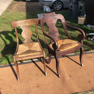 Two antique wood chairs with wicker seats for Sale in Tacoma, WA