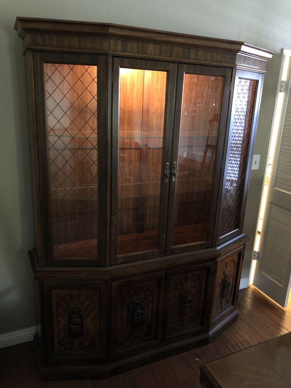 Antique oak wood China cabinet display case rack hutch