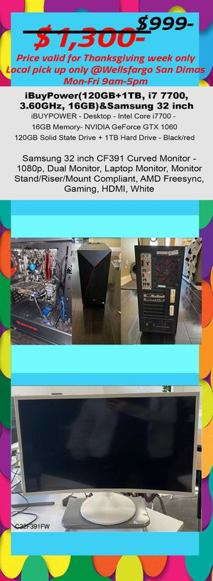 "ibuypower gaming desktop pc i7 Gtx 1060 16gb & curved samsung monitor 32"" for Sale in Covina, CA"