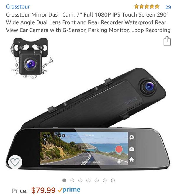 Mirror Dash Cam, 7'' Full 1080P IPS Touch Screen 290° Wide Angle Dual Lens Front and Rear Recorder Waterproof Rear View Car Camera with G-Sensor, Par