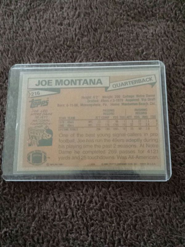 Joe Montana Rookie Card 1981 Topps Football Card For Sale In Fresno Ca Offerup