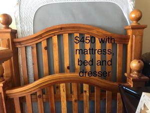 Bed frame, with mattress, bed and dresser for Sale in Encinal, TX