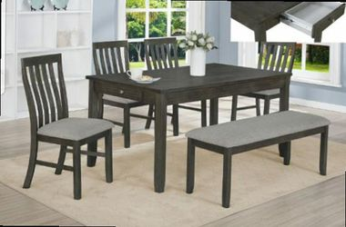 CLOSEOUTS LIQUIDATIONS SALE BRAND NEW 6PC DINING TABLE SET INCLUDES TABLE 1 BENCH AND 4 CHAIRS ALL NEW FURNITURE CM2217 for Sale in Pomona,  CA