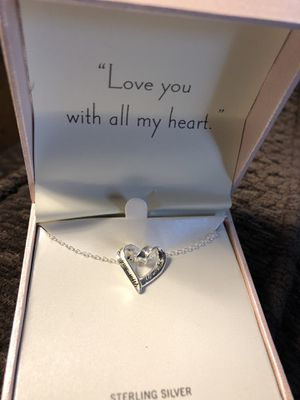 Sterling silver necklace with heart pendant.REDUCED!!!!!$5. for Sale in Crownsville, MD