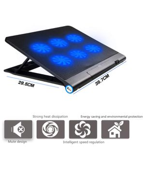 Aicheson Laptop Cooling Pad, AICHESON Laptop Cooling Mat, 6 Quiet Fans USB Powered Adjustable Mount Desk Stand Laptop Chiller with LED for HP Dell Le for Sale in Manteca, CA
