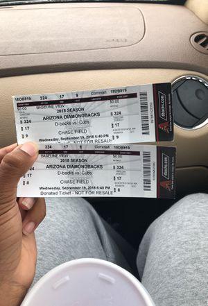 Dbacks Vs Cubs Tickets for Sale in Phoenix, AZ