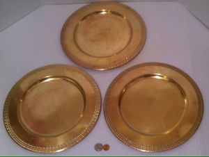 "3 Vintage Brass Plates, 12"" Wide, Heavy Duty Brass Plates, Plate, Kitchen Decor, Shelf Display, Table Display, These Can Be Shined Up Even More for Sale in Lakeside, CA"