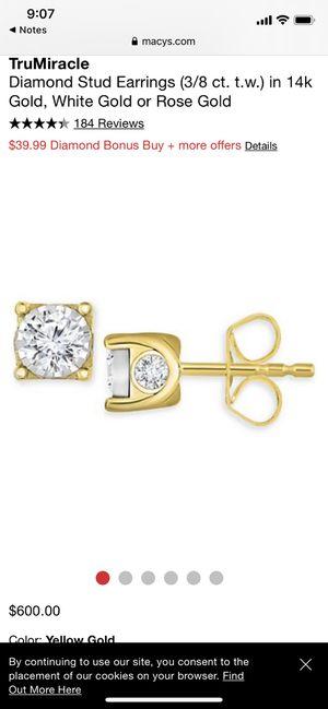 14k gold 3/8ct diamond earrings from Macy's for Sale in Santee, CA