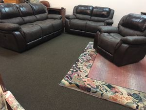 Finn leather and fabric combo brand new Piwer recliner sofa set from Highpoint furniture market for Sale in Durham, NC