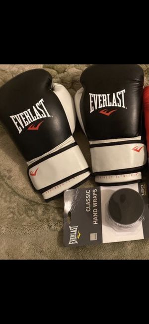 EVERLAST Black & White boxing Gloves also Black 120 inch Boxing Raps for Sale in Inglewood, CA