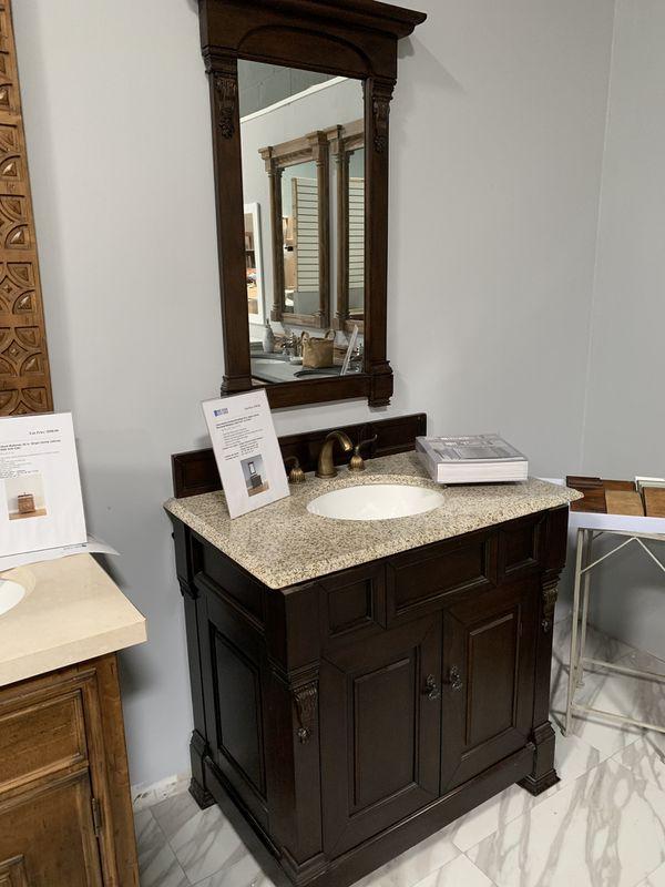 "36"" James Martin Brookfield Espresso with Tan Brown Granite Top Single Sink Bathroom Vanity Cabinet with Mirror"