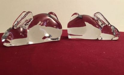 Set of 2 Vintage Silvestri Crystal Rabbit Bunny Glass Bookends - Heavy for Sale in Hollywood,  FL