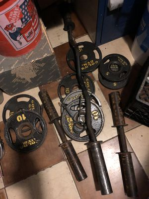 GOLDS GYM DUMB BELL CURL BAR WEIGHTS SET PLATES for Sale in Miami, FL