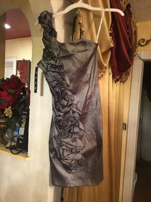 New prom dress brand SNAP size M color dark silver satin for Sale in San Diego, CA