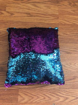 Blue and pink sequin pillow for Sale in Marcola, OR