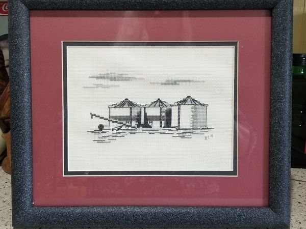 Vintage Needlepoint Industrial Storage Oil or Gas Silos cross-stitch picture under glass framed, wall hanging