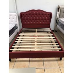 Burgundy Queen Bed Frame $295 😍 Price With Mattress Is Different 📦🙌🏻 for Sale in Bellflower,  CA
