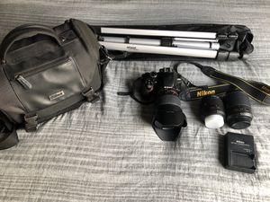 Nikon D3300 + 3 lenses, tripod, 64 gb card, & camera bag for Sale in Riverside, CA