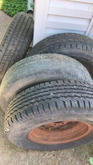 """6 trailer rims and 4 mounted tires. All 16"""" 8 lug wheels for Sale in Richmond Heights, MO"""