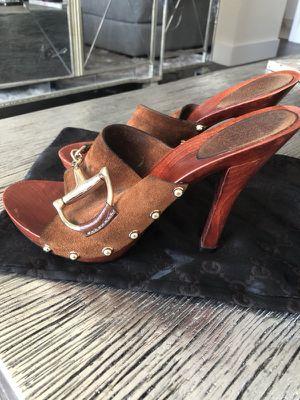Gucci Suede Horsebit wood heel clog 37.5 for Sale in Tampa, FL