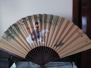 Antique hand painted Asian wall fan for Sale in Belleville, NJ