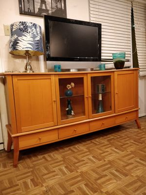 Nice wooden buffet/ TV stand for big TVs with 4 drawers, cabinets and glass shelves in very good condition, all for Sale in Annandale, VA