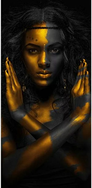 Black and Gold African Nude Woman Cuadros Canvas Painting Posters and Prints Scandinavian Wall Art Picture for Living Room Decor 45h×19w inch for Sale in San Jose, CA