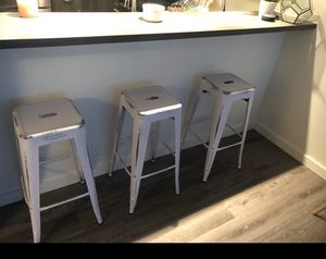 """Bar Height 30"""" white metal barstools - set of 3 for Sale in Portland, OR"""