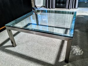 Pottery Barn square coffee table, glass and metal for Sale in San Diego, CA