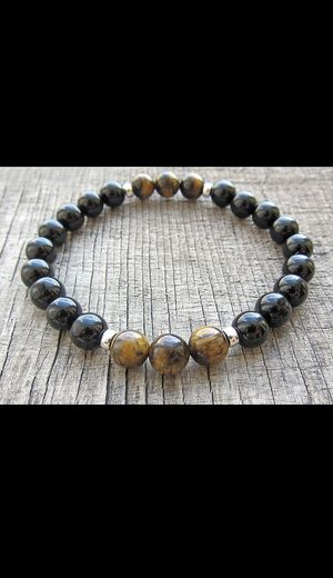 Tiger eye & Onyx Gemstone Beaded Stretchy Bracelet for Sale in King of Prussia, PA