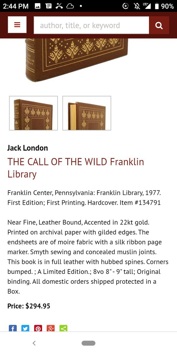 THE CALL OF THE WILD. FRANKLIN LIBRARY 1977 JACK LONDON