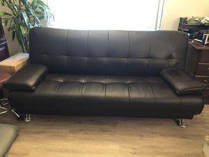 Black Faux Leather Futon for Sale in Santa Ana, CA