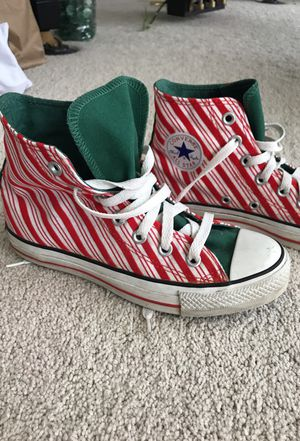 Christmas converse women's 6 6.5 or men's 4. Sneakers shoe for Sale in Salt Lake City, UT