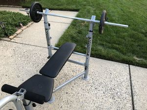 Bench Press and Plate Weight Set (170 lbs of weight) for Sale in Mount Laurel Township, NJ