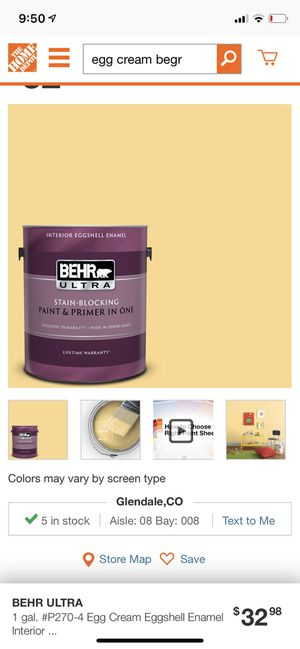 Behr Ultra interior Eggshell Enamel - Egg Cream New for Sale in Englewood, CO