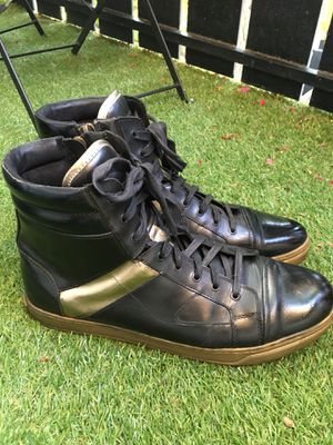 Kenneth Cole Size 12 Men's Shoes Black and Gold High Tops for Sale in Topanga, CA