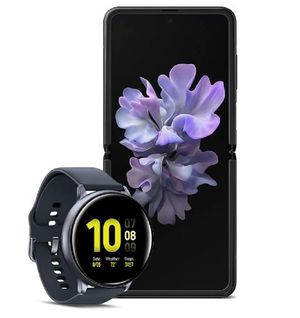 Samsung Galaxy 2 Flip Factory Unlocked Cell Phone, 256GB of Storage/Mirror Black with Watch Active2, Sleep, Workout Tracking and Pace Coaching . for Sale in Orange, CA
