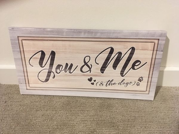 You & Me & the Dogs Canvas Art (20x10)