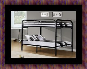 Twin bunk bed frame with 2 mattress for Sale in Riverdale Park, MD