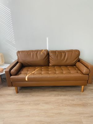 Brown/Camel Leather Couch for Sale in Dallas, TX