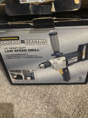 """chicago electric power tools Low speed drill 1/2"""" heavy duty professional for Sale in Troy, MI"""